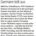 """""""Kein Mut"""" Hannes Germann teilt aus"""